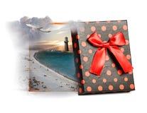 Summer beach inside gift box Stock Photos