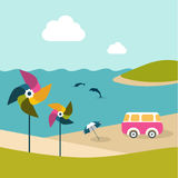 Summer beach island with dolphins, van, umbrella and color pinwheels. Stock Photography