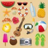 Summer holiday beach object set stock photos