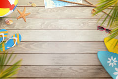 Summer beach items on wooden desk. Top view with free space for text Stock Photos