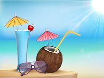 summer beach juice, glasses with young coconut Stock Images