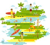 Summer beach landscape background in flat style Royalty Free Stock Photography