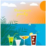 Summer beach landscape with cocktails Royalty Free Stock Images