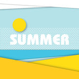 Summer beach landscape illustration in modern material design style. Royalty Free Stock Photos