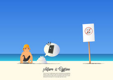 Summer beach landscape with kid and No Mobile phone on blue gradient sky background. Vector. Stock Photos
