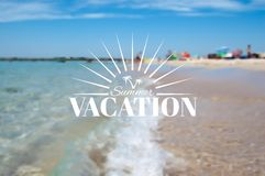 Summer beach landscape and vacation insignia Royalty Free Stock Images