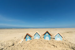 Summer beach. With landscape and wooden huts Stock Photo