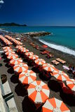 Summer beach. Lavagna. Liguria. Italy Stock Photos
