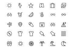 Summer and Beach Line Icons 1 Stock Photography
