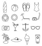 Summer beach line icons set Stock Photography