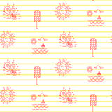 Summer beach line striped icon seamless vector pattern. Vacation outline tileable white and red background Stock Photos