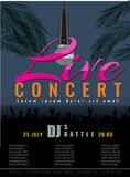 Summer Beach live concert and DJ Party Flyer or poster. stock illustration
