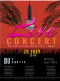 Summer Beach live concert and DJ Party Flyer or poster. Royalty Free Stock Photo