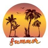 Summer beach logo symbol vector illustration  on white background Royalty Free Stock Images