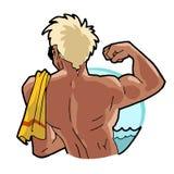 Summer beach man illustration Royalty Free Stock Photo