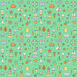 Summer beach multicolored big outline seamless pattern (green). Royalty Free Stock Images