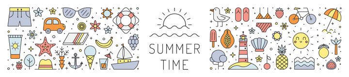 Summer beach multicolored horizontal illustration. Summer time. Simple outline design. Stock Images