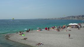 Summer beach in Nice in France - Wide Shot stock video
