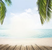 Summer beach and ocean horizon with tropical palm leaves 3d rend Stock Photo