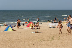 Summer on a beach in a Palanga Stock Image