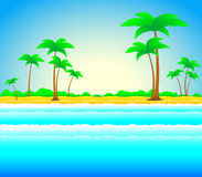 Summer beach with palm and sea Royalty Free Stock Photography