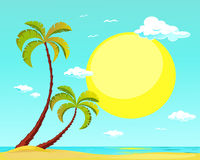 Summer beach with palm tree and big sun - vector Stock Images