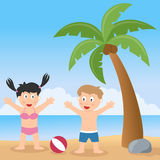 Summer Beach with Palm Tree and Kids. Two happy kids playing in a summer day on a beach with a palm tree. Eps file available Royalty Free Stock Photo