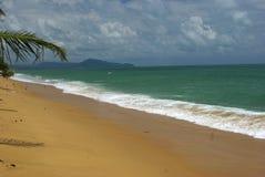 Summer beach - palm tree, mountain on remote island, white sand, Royalty Free Stock Photo