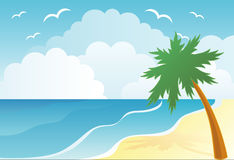 Summer beach with palm trees stock illustration