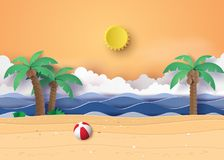Summer beach and palm trees on the beach. Paper art and digital craft style stock illustration