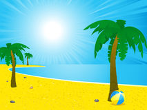 Summer beach and palm trees landscape Stock Image