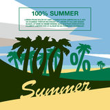 Summer beach with palm trees. One hundred percent banner text. Summer flat geometric landscape Stock Illustration
