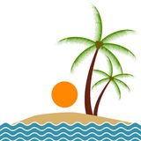 Summer beach palm trees Royalty Free Stock Images