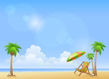 Summer beach with palms and chaise lounge Royalty Free Stock Images