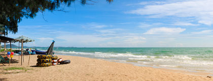 Summer Beach Panorama at Chonburi, Thailand Royalty Free Stock Image