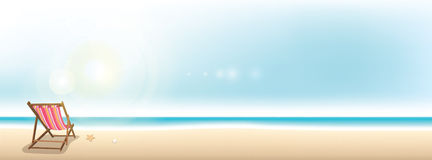 Summer beach panoramic vector background Royalty Free Stock Image