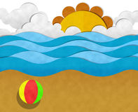Summer at Beach. Paper Cut vector illustration