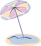 Summer Beach Parasole or Umbrella. Hand Drawn Vector Illustration Royalty Free Stock Photo
