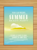 Summer Beach Party celebration flyer or banner. Royalty Free Stock Photography