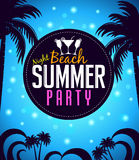 Summer Beach Party in a Circle with Palm Trees in Blue Stock Photo