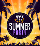 Summer Beach Party in a Circle with Palm Trees Royalty Free Stock Photos