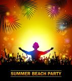 Summer beach party with dance silhouettes. Illustration of Summer beach party with dance silhouettes Stock Photo