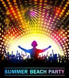 Summer beach party with dance silhouettes. Illustration of Summer beach party with dance silhouettes Royalty Free Stock Photos