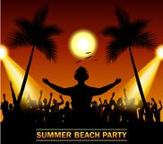 Summer beach party with dance silhouettes. Illustration of Summer beach party with dance silhouettes Stock Image
