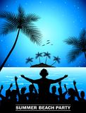 Summer beach party with dance silhouettes. Illustration of Summer beach party with dance silhouettes Stock Photos