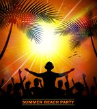 Summer beach party with dance silhouettes Royalty Free Stock Photo