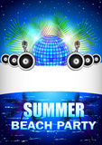 Summer Beach Party With disco ball and speakers Stock Images