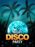 Summer beach party disco poster design with disco ball element. Vector beach party flyer with palm. Music beat template Stock Image