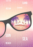 Summer Beach Party Flyer Design with Sunglasses on Blurred Backg Stock Photos