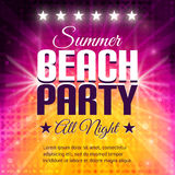 Summer Beach Party Flyer. Disco party background in pink and yellow colors. Place for text. Vector lights backdrop. Dance party. Vector Illustration Stock Images